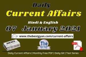 Daily Current Affairs 07 January 2021 Hindi & English